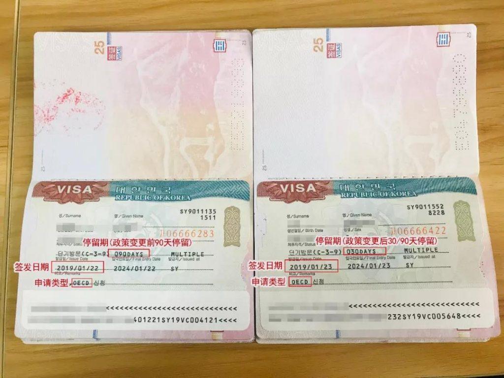 韩国签证申请类型